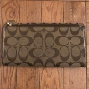 Coach Bags - Coach large bifold wallet brown and gold